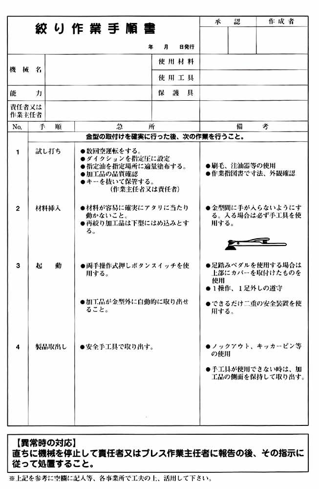 絞り作業手順書